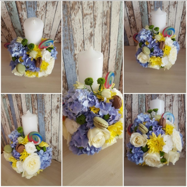 Lumanare-botez-baietel-acadea-macaroon-hortensie-trandafiri