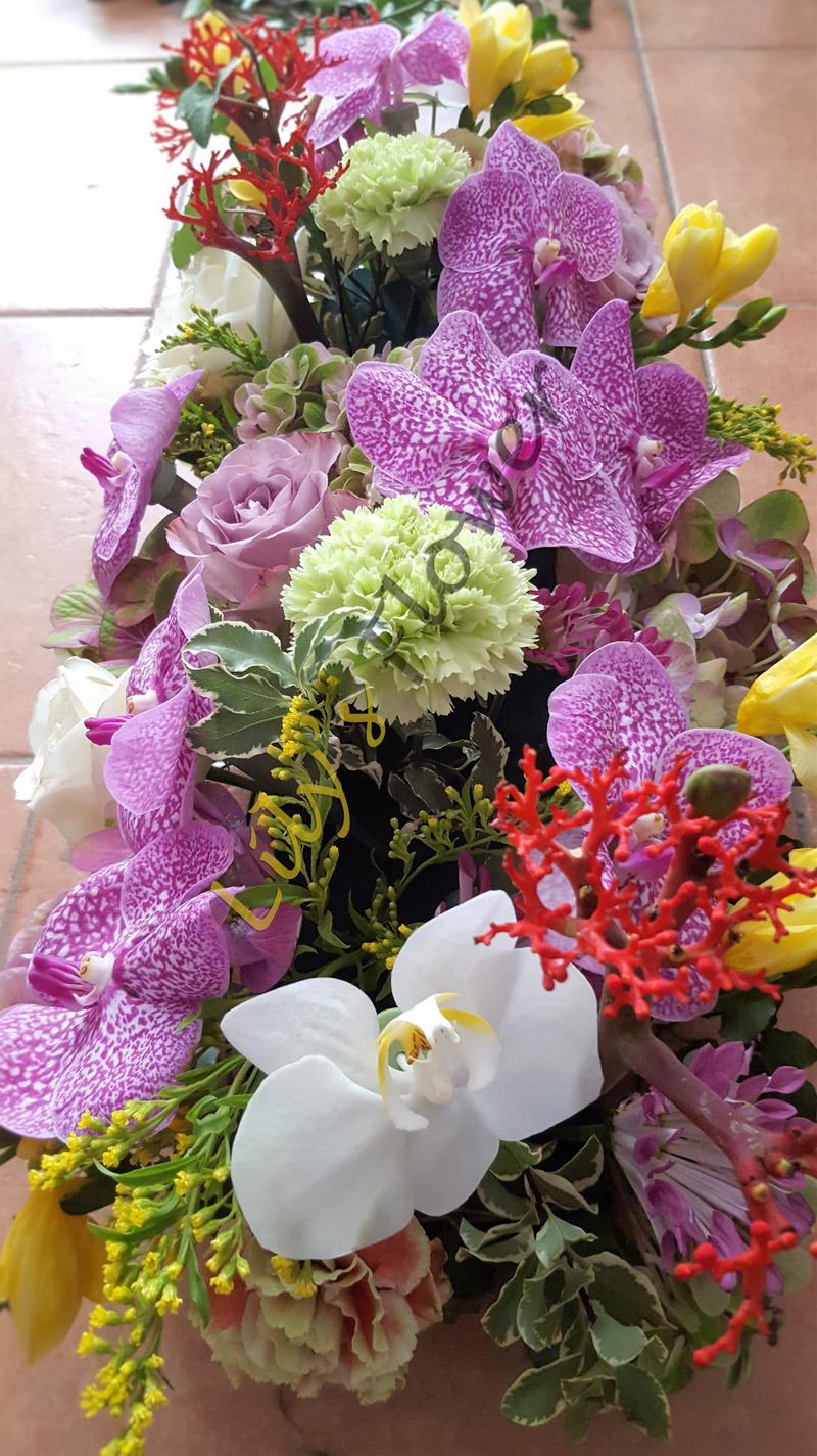 Aranjament masa prezidiu orhidee trandafiri