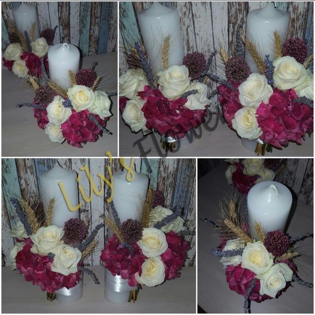 Lumanari nunta rustic hortensie trandafiri