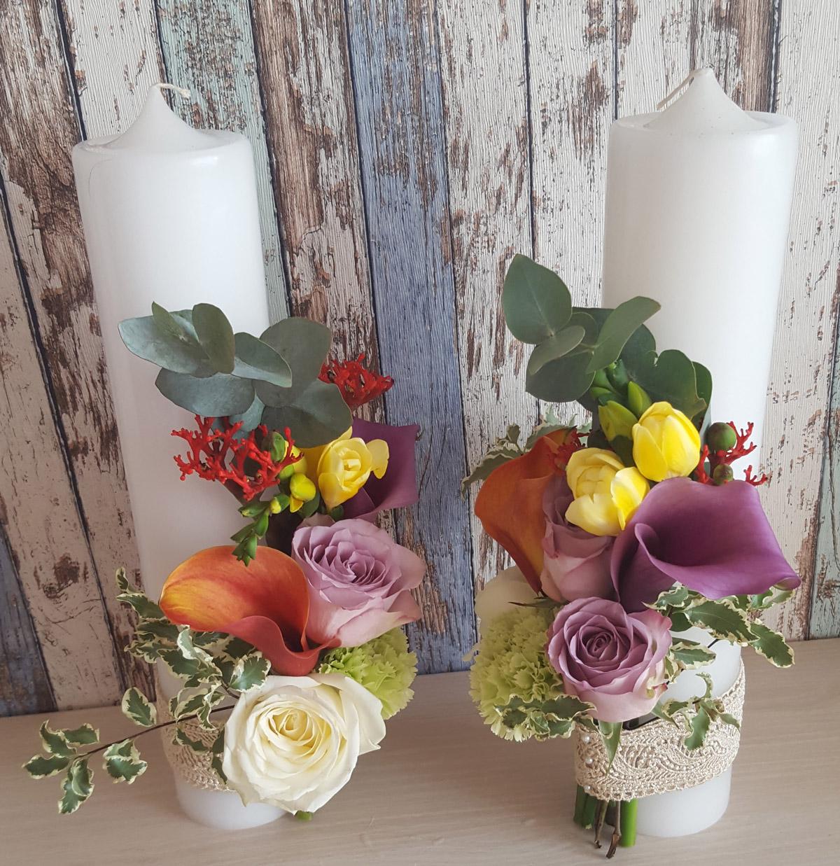 Lumanare nunta elegant cala trandafiri